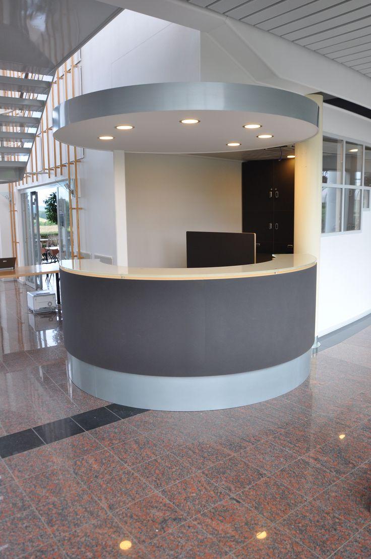 Custommade reception for Pressalit in Denmark. Front in bulletin board from Forbo. http://www.kjeldtoft.com/