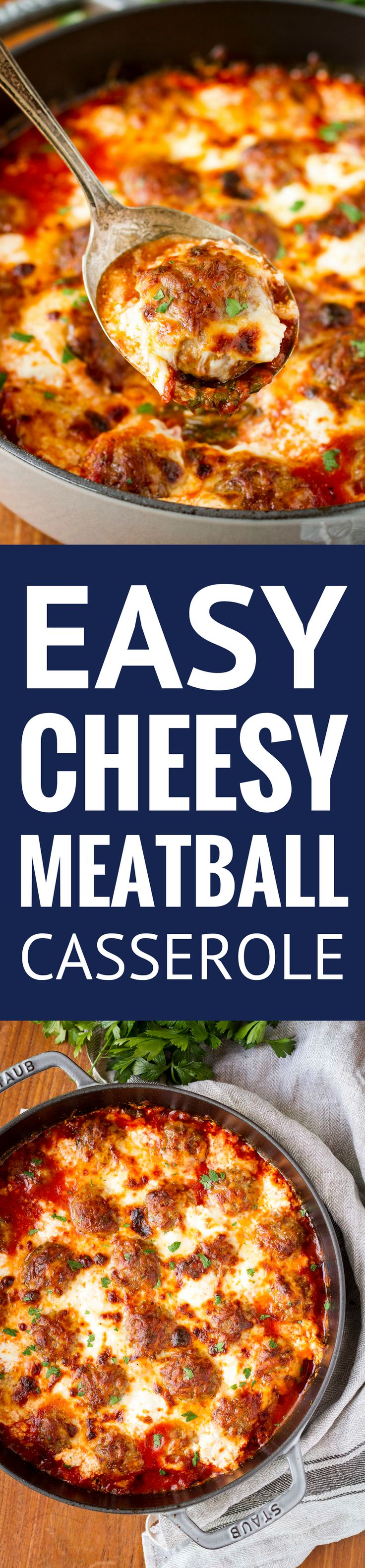 Simple 5-Ingredient Cheesy Meatball Casserole -- this easy meatball casserole boasts just 5 ingredients, yet is still packed with flavor… Serve it as is, over pasta, or on sandwich rolls for a versatile weeknight dinner! | meatball casserole recipe | baked meatball casserole | italian meatball casserole | meatball casserole weeknight meals | find the recipe on unsophisticook.com #AD