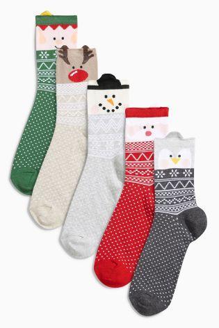 Набор из пяти пар разноцветных носков с мультяшными героями и узором фер-айл - Покупайте прямо сейчас на сайте Next: Россия