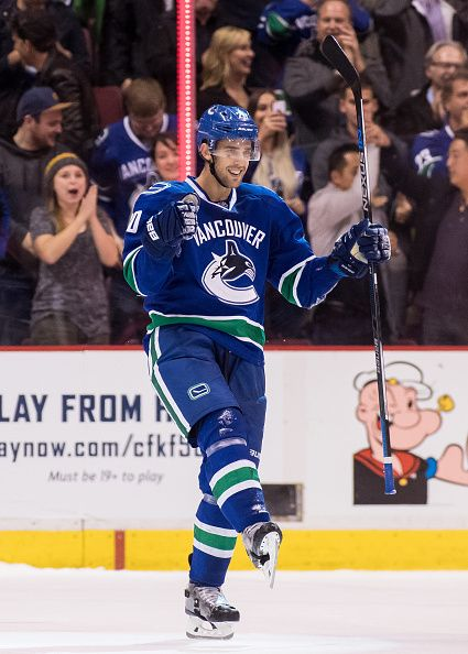 Brandon Sutter of the Vancouver Canucks celebrates his game winning goal against the Calgary Flames during a shootout of their NHL game at Rogers...