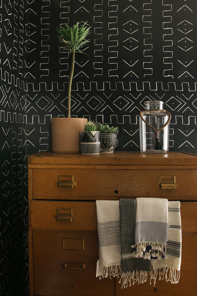 Wallpaper inspired by African Mud Cloth