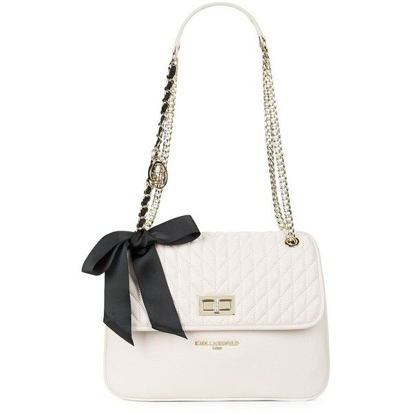Karl Lagerfeld Paris Quilted Leather Shoulder Bag (3.323.940 IDR) ❤ liked on Polyvore featuring bags, handbags, shoulder bags, latte, shoulder bag purse, shoulder handbags, quilted shoulder bag, bow purse and karl lagerfeld handbags
