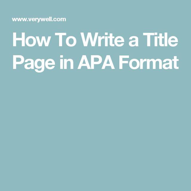 best 25  apa title ideas on pinterest