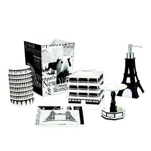 The Stylish Black And White Designs Of The Passport Bath Accessories Will  Transport You To Another City Across The Globe. These Inspiring Pieces Are  Made Of ...