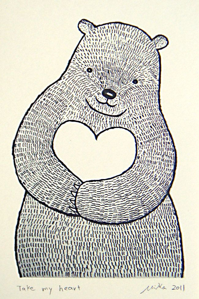 Bear Heart Print of Original Ink Drawing Woodland Illustration Love Ivory MiKa 4x6 Wall Decor. $7.99, via Etsy.