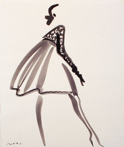 "Fashion Illustration by Mats Gustafson (Swedish, 1951)  Date of Original:  mid1980s  ""Vogue U.S.A. Geoffrey Beene."""