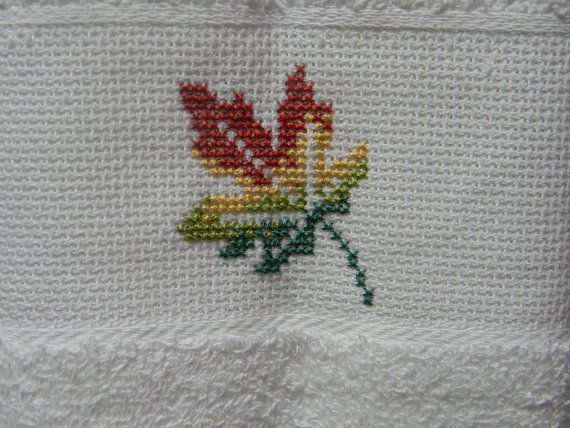 Autumn Leaf Kitchen Towel  Guest Towel  Finished by Giftsbyshelley, $15.00