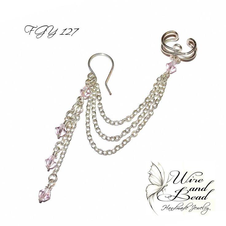 Ezüstözött rózsaszín gyöngyös láncos fülgyűrű