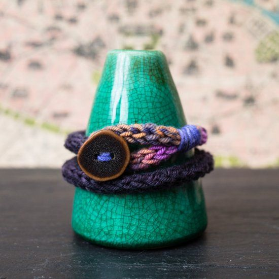 Make a wrap bracelet with a french knitter and your favorite yarn.