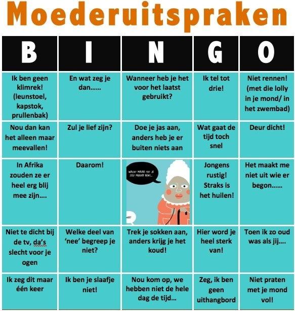 Moeder uitspraken bingo | bron: pinterest.com/lampje