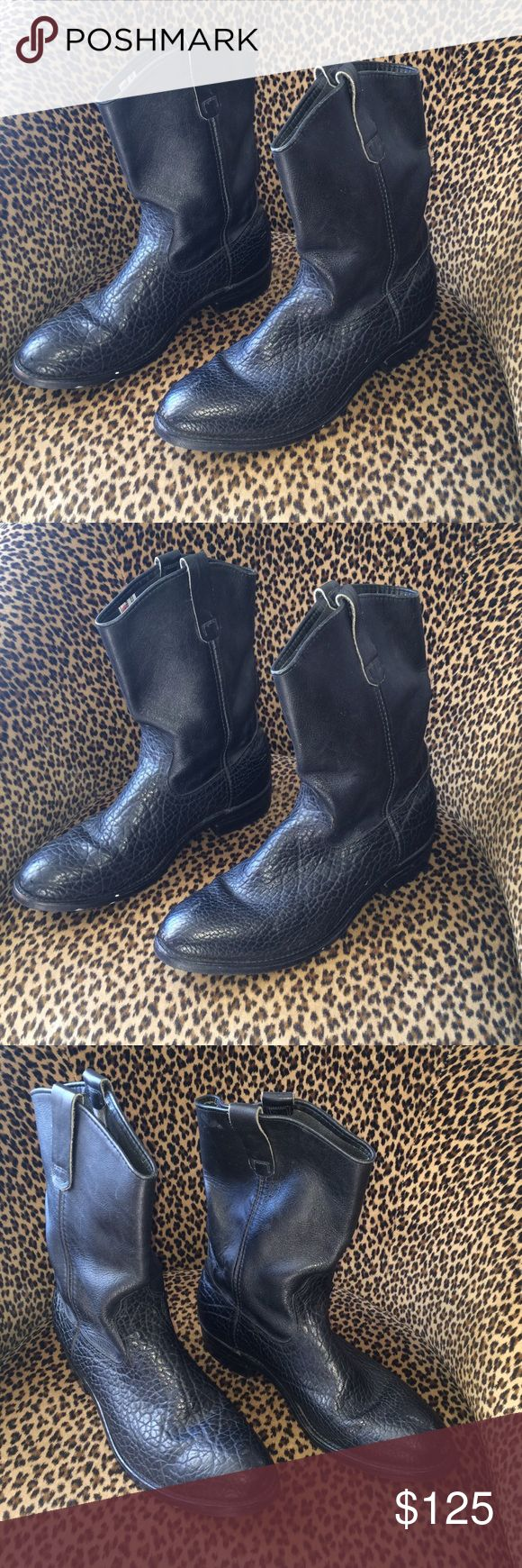 Red Wing Motorcycle Black Boots snake pattern EUC This is a nice pair of gently used Red Wing black leather men's boots.  Size 10 1/2  They have a cool snakeskin pattern in them. The tread is pretty nice. Only slightly worn. The leather is very  in EUC. Worn rarely. Red Wing Shoes Shoes Boots