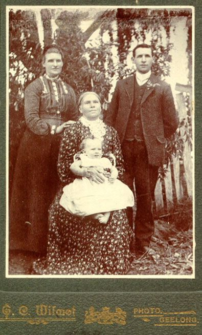 Produced by : G C Wilmot, Geelong; Subjects : Four generations of the DEAN family - Mrs Ellen DEAN (mother), Sarah HUMPHRIES (daughter), Herbert William HUMPHRIES (grandson), Alan Ashton HUMPHRIES (g-grandson b. 8 March 1906); Date : c. 1907; Source : B. Watson