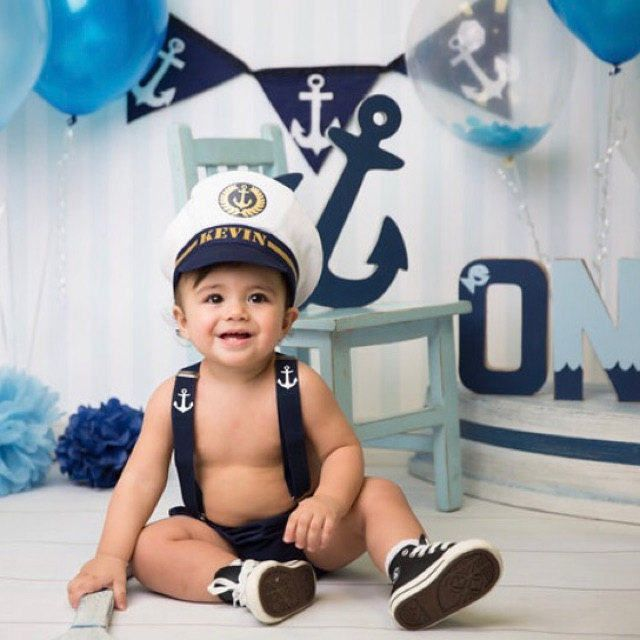 Personalised Ship Captain... Baby boy 1st Birthday Outfit.. Cake Smash...Photo prop... halloween outfit by BuBBlingBoutique on Etsy