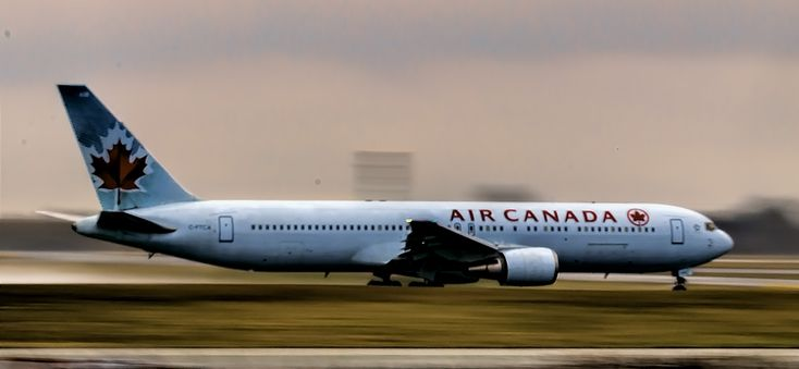 Air Canada during takeoff on 22 right