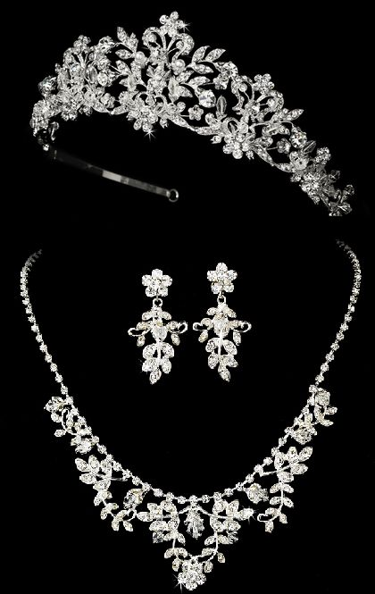 Just gorgeous! Regal Crystal and Pearl Quinceanera Tiara and Jewelry Set - Affordable Elegance Bridal -