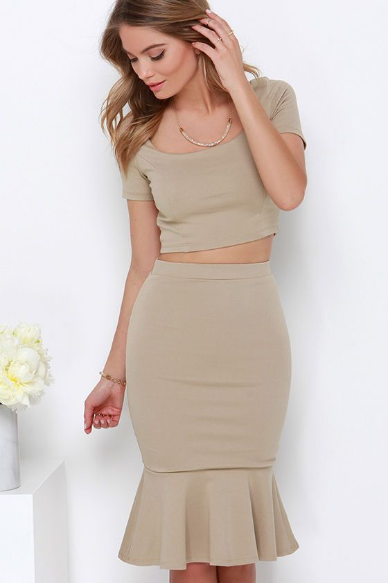 Chic Magnet Beige Two-Piece Dress at Lulus.com!