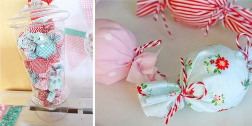"Party decor idea: wrap ""candy"" or styrofoam balls in adorable coordinating fabric and display in apothecary jar! #socialcircusThemed Baby Showers"