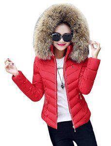 Brinny Femme Fashion Chaud Slim Rembourrage Manteau avec Capuchon Amovible Col Fourrure Épaisse Courte Blouson Parka Overcoat, Rouge – XL