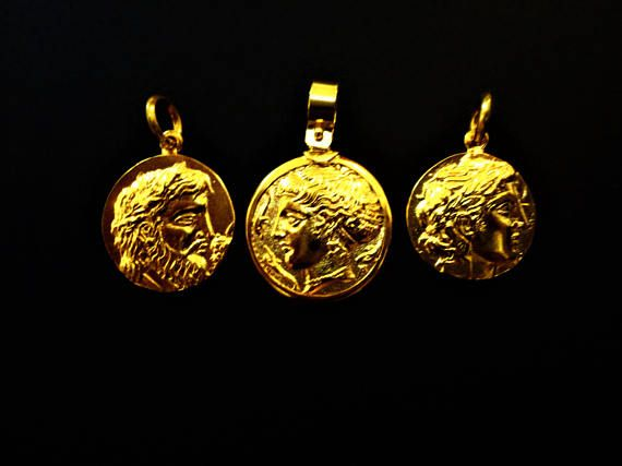 Ancient Greek Coin Pendants. Copy of Authentic. 18K Gold