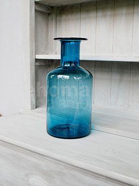 High Blue Decanter w/ neck 34cm