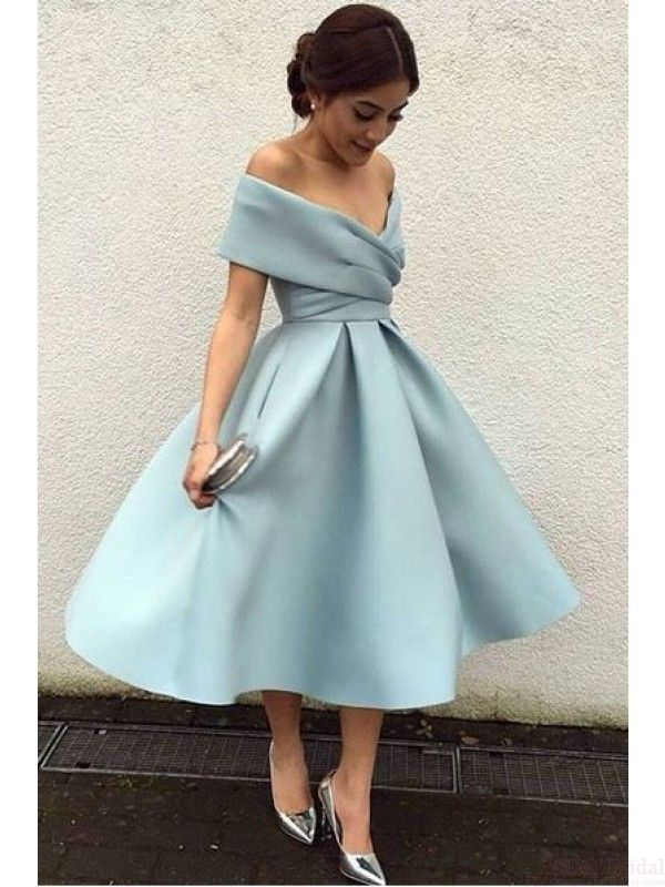 A Line Vintage Off Shoulder Knee Length Homecoming Dress Party Dresses Prom Dresses Cocktail Dresses Graduation Dresses (ED1931)