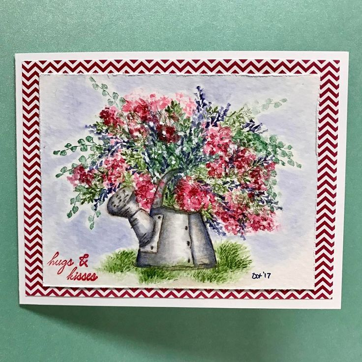 Art Impressions Rubber Stamps: Wonderful Watercolor: Watering Can (G2058) ... handmade water color card.
