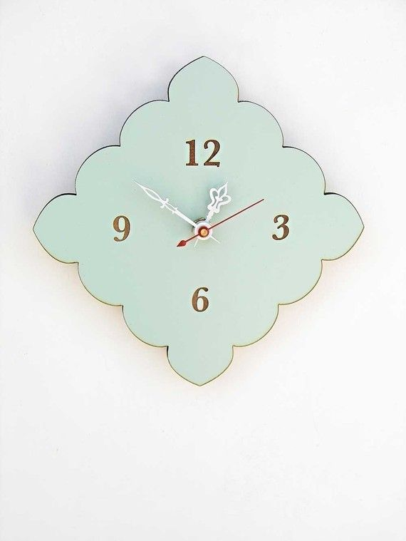 tiny scallop clock - kitchen clock - bathroom clock - vintage blue, red, birch