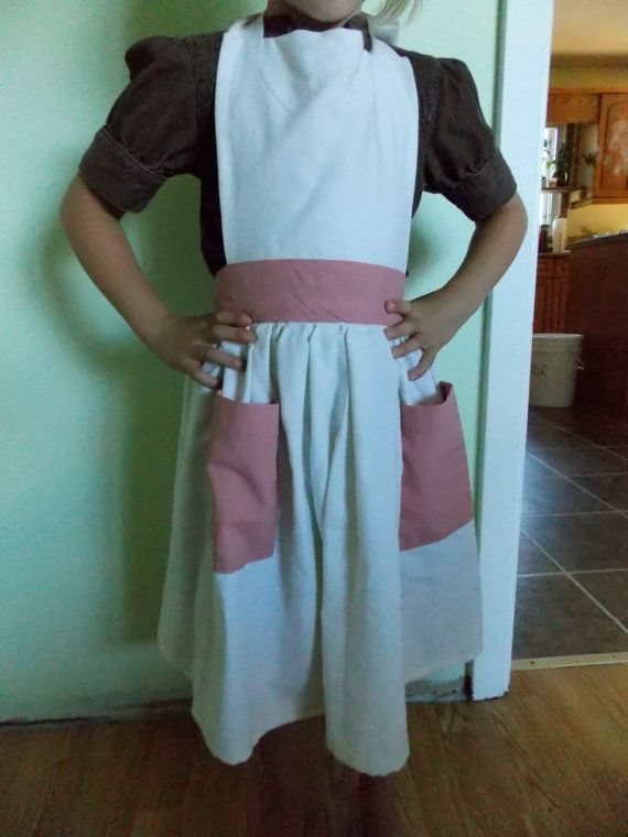 Custom Size 6 White and Dusty Rose Apron Made From by content2Bsew