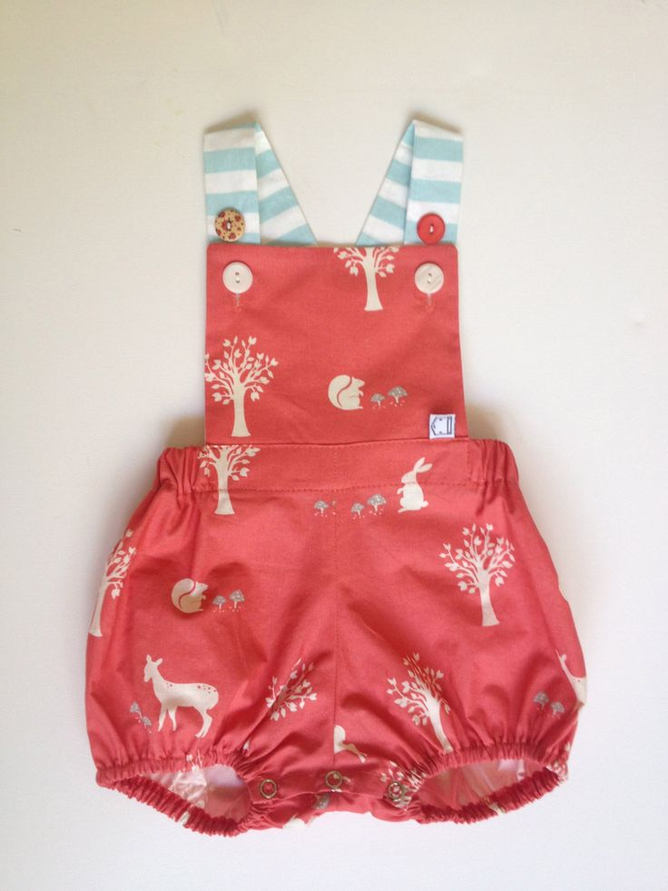 coral woodland friends vintage sunsuit. ORGANIC by pokettoclothing, $38.00