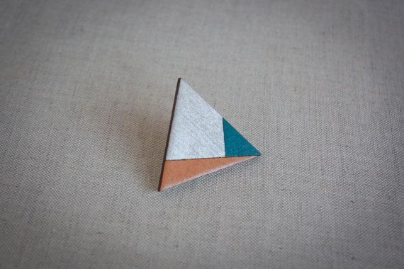 Geometrical triangle wooden brooch triangular wooden by Studionat