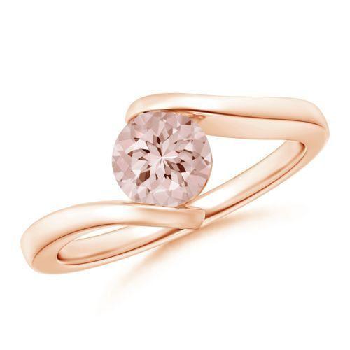 Bestselling Morganite Engagement Ring on Sale: 1 Carat Morganite Solitaire Engagement Ring in 14k Rose Gold