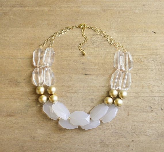 Gold Clear and White Statement Necklace  Chunky door ShopNestled, $42.00
