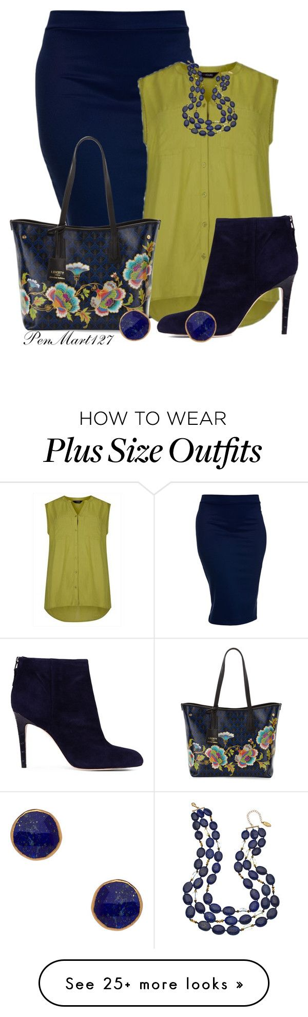 """""""Pencil Skirt #Plussize"""" by penny-martin on Polyvore featuring Liberty, Sam Edelman, Gottex and Janna Conner Designs"""