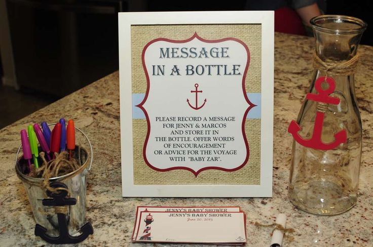 Nautical Baby Shower | CatchMyParty.com Message in a Bottle Sign Activity / Game Ideas