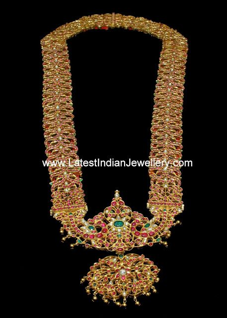Heavy Indian Traditional Long Haaram with Kundans Rubies