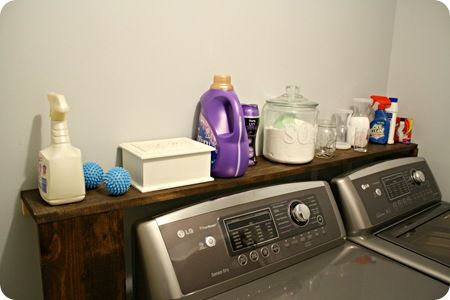 Shelf behind washer/dryer. For when you can't push washer/dryer up to wall and you have a large gap.
