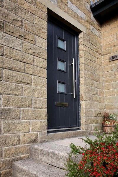 Bespoke 3 square composite door in Grey.