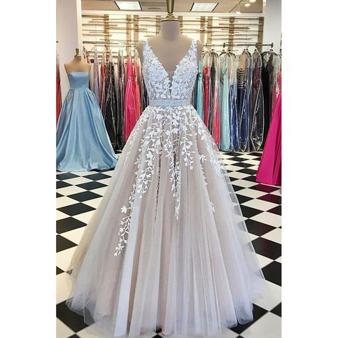 V neck Prom Dresses,Tulle Wedding Dresses,Lace Prom Dresses,Long Wedding Dress from SIMIBRIDALDRESS
