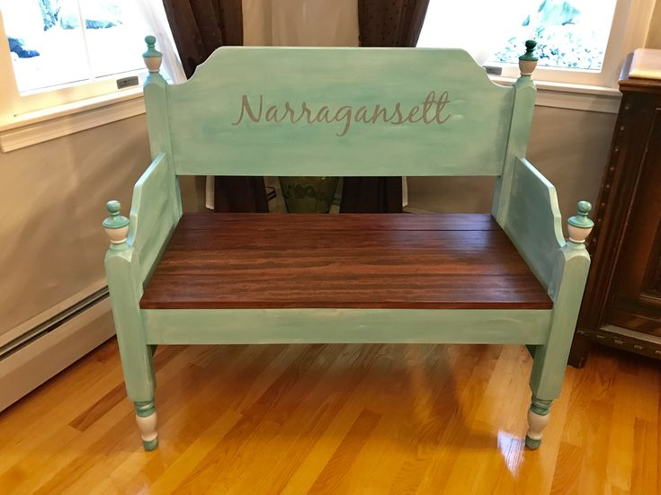 Custom Bench for a beach lover. Repurposed from a maple antique twin bed.  Painted with Annie Sloan Chalk paint Florence and Paris Gray with clear and white wax. Custom stencil by DYI Designs Co, on Etsy.