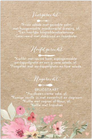 Botanische menukaart voor op tafel bij jullie bruiloft. Op een kraftlook, romantische watercolour bloemen, hartjes en sierletters. Geheel zelf aan te passen. Gratis verzending in Nederland en België.