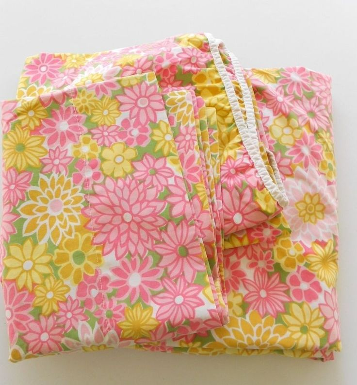 vintage pink yellow montgomery ward retro floral full sheet set by 104u0027