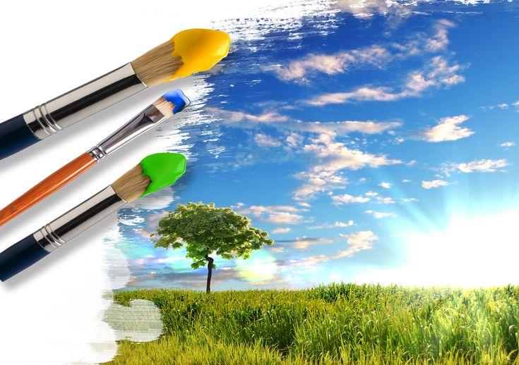 Скачать обои кисти, креатив, краски, дерево, зелень, солнце, небо, трава, облака, раздел пейзажи в разрешении 4666x3287