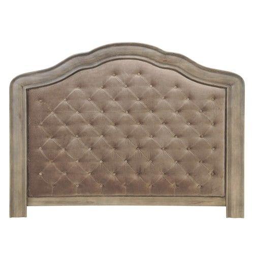 Tête de lit capitonnée en velours taupe L 160 cm