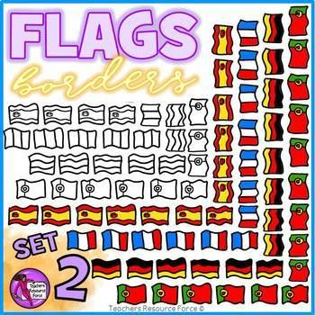 Flag Borders Clipart Doodle Style (France, Spain, Germany, Portugal)