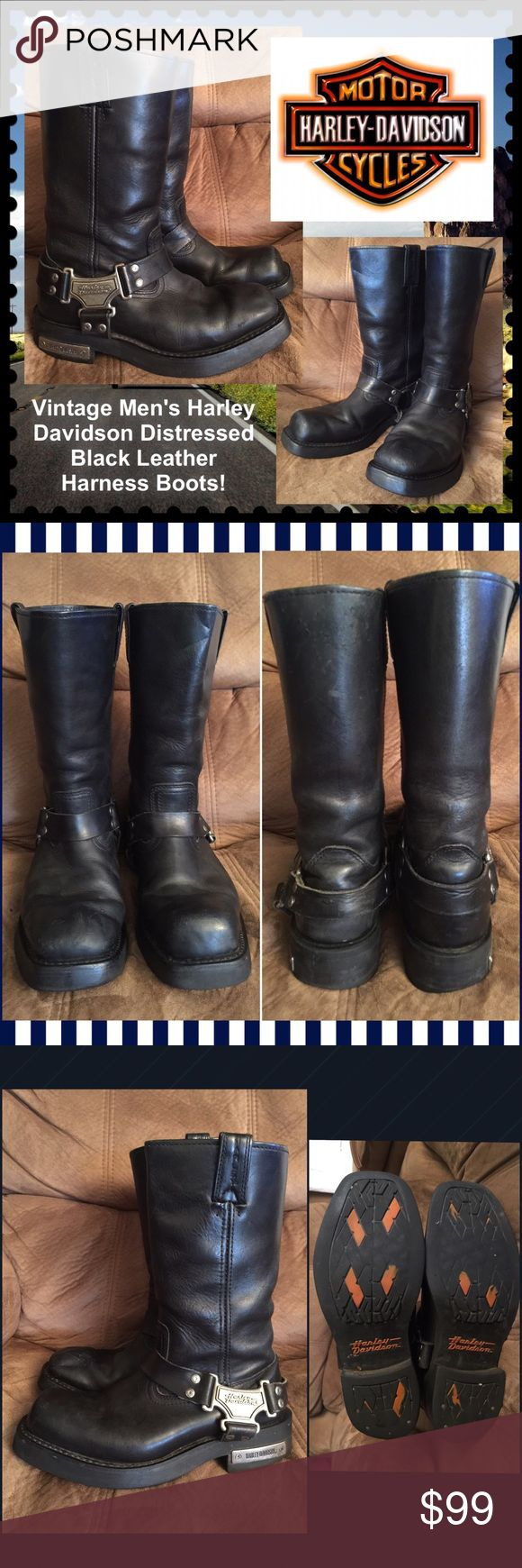 "Vtg Men's Harley Davidson Leather Harness Boots! Vintage Men's Harley Davidson Black Leather Harness Boots! Features: 100% authentic, black nubuck leather, mid-calf, pull on - harness style, square toe harness boot, iconic Harley orange soles. Size 7.5 men = size 9 women. 14 1/2"" top opening, Heel: 1 1/2"", overall height is 12"". Wear on heels, scuffing & marks on the exterior. Awesome cool distressed look! Good condition. Offers welcomed! Harley-Davidson Shoes Boots"