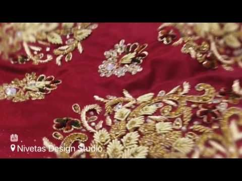Royal antique  work on bridal lehenga by nivetas design studio - YouTube