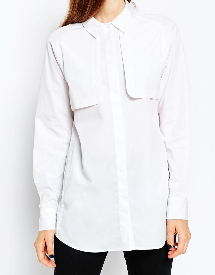 ASOS premium Ttench detail white shirt