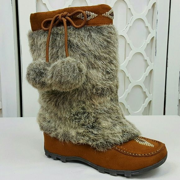 ❌SOLD❌MukLuk Moccasin Faux Fur Boots 5.5 M Keep your feet warm and your style cute. NEW Without Tags. . Adorable Faux Fur Soda MukLuk Moccasin Mid-calf Boots. Size 5 1/2 Retail $65 ? Chestnut Brown Faux Suede Moccasin ? Faux Fur Shaft W/Pom Poms ? Lined in Shearling ? Slip-on Design ? Low Flat Heels ? Decrotive Bead Detail ? Padded Footed Shipped same or next day.. Thanks for checking out my closet. Clean Non Smoking Home Soda Shoes Winter & Rain Boots