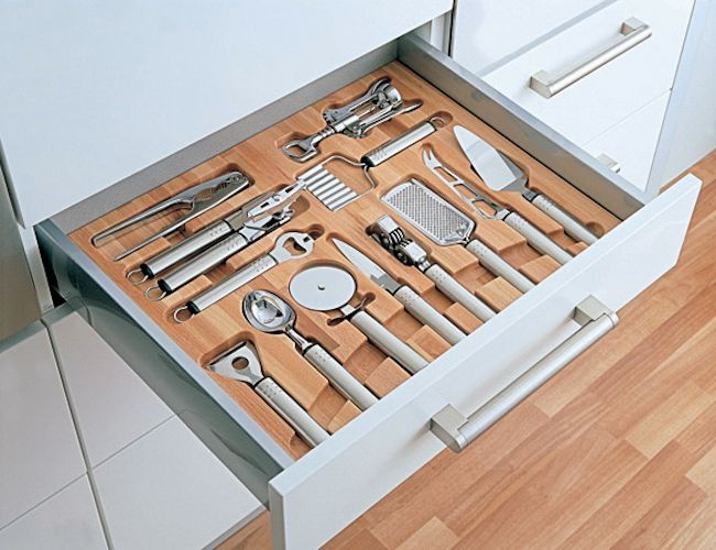 Specialty drawer   Image source: Remodelista   must-have: best organizational features in the kitchen   Custom organization in the Kitchen  
