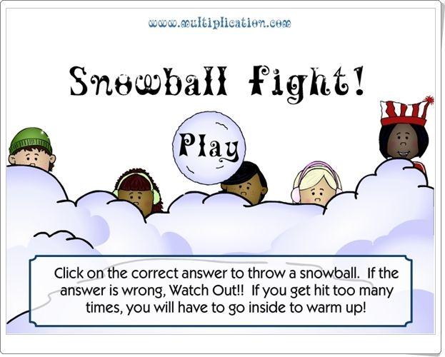 """""""¡Guerra de nieve!"""" (Juego de Multiplicación de Primaria)"""